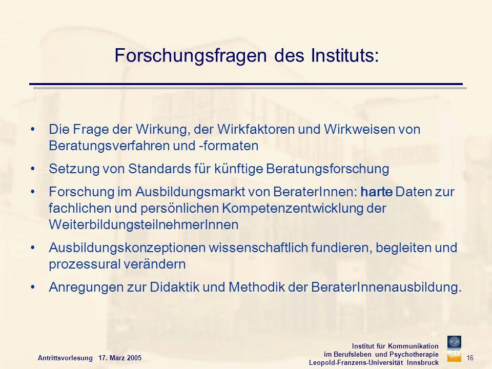 Institut für Kommunikation im Berufsleben und Psychotherapie Leopold-Franzens-Universität Innsbruck Antrittsvorlesung 17. März 2005 16 Forschungsfrage