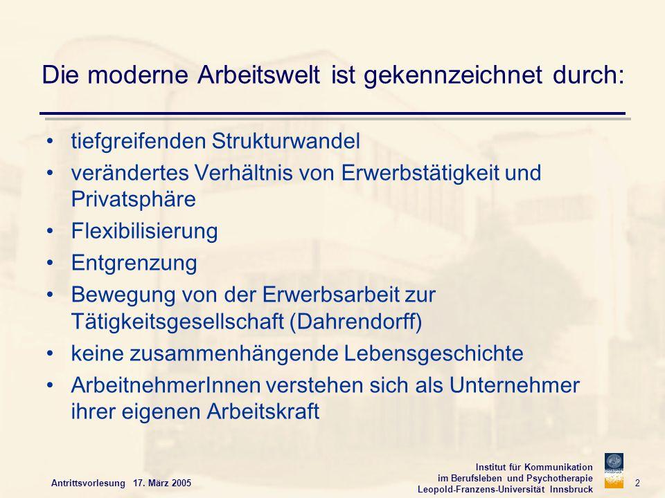 Institut für Kommunikation im Berufsleben und Psychotherapie Leopold-Franzens-Universität Innsbruck Antrittsvorlesung 17. März 2005 2 Die moderne Arbe