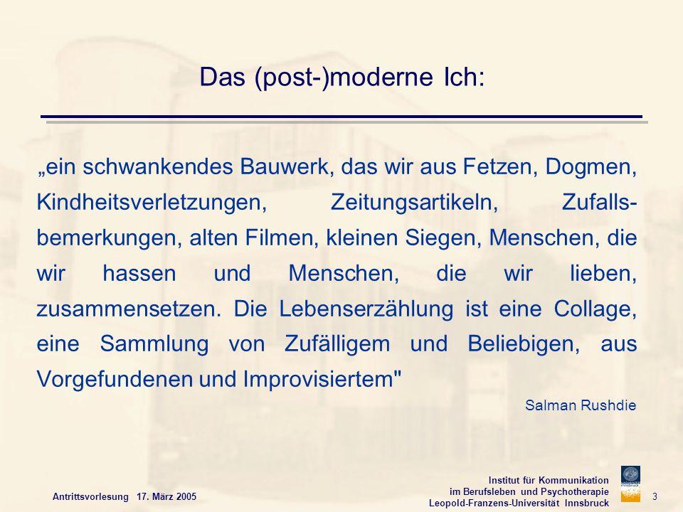 Institut für Kommunikation im Berufsleben und Psychotherapie Leopold-Franzens-Universität Innsbruck Antrittsvorlesung 17. März 2005 3 Das (post-)moder