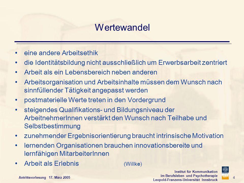 Institut für Kommunikation im Berufsleben und Psychotherapie Leopold-Franzens-Universität Innsbruck Antrittsvorlesung 17. März 2005 4 Wertewandel eine