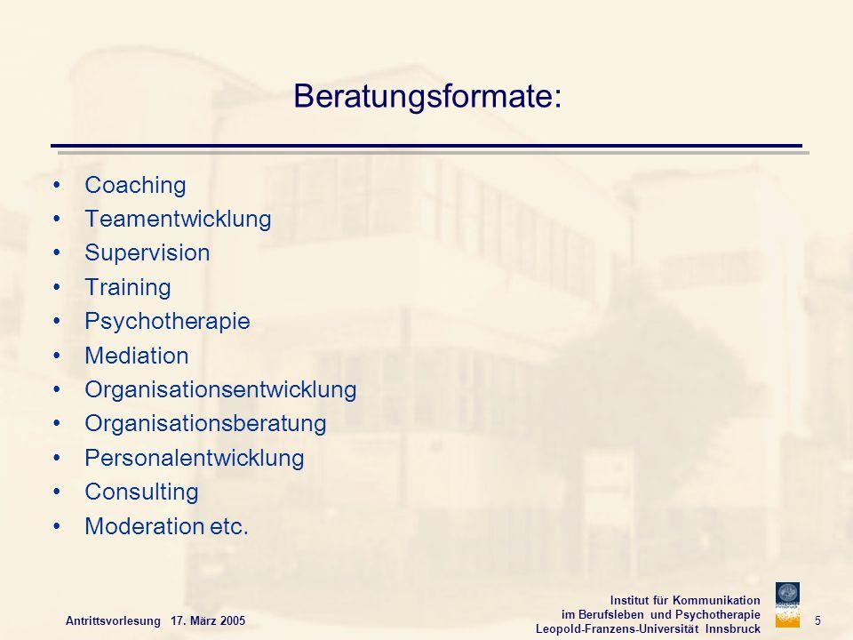 Institut für Kommunikation im Berufsleben und Psychotherapie Leopold-Franzens-Universität Innsbruck Antrittsvorlesung 17. März 2005 5 Beratungsformate
