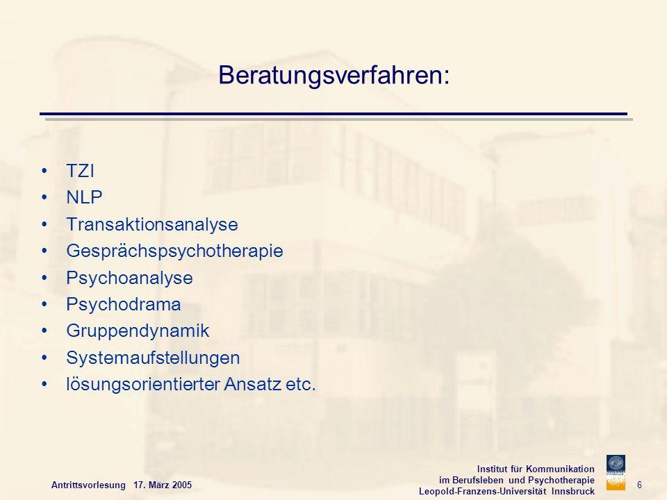 Institut für Kommunikation im Berufsleben und Psychotherapie Leopold-Franzens-Universität Innsbruck Antrittsvorlesung 17. März 2005 6 Beratungsverfahr