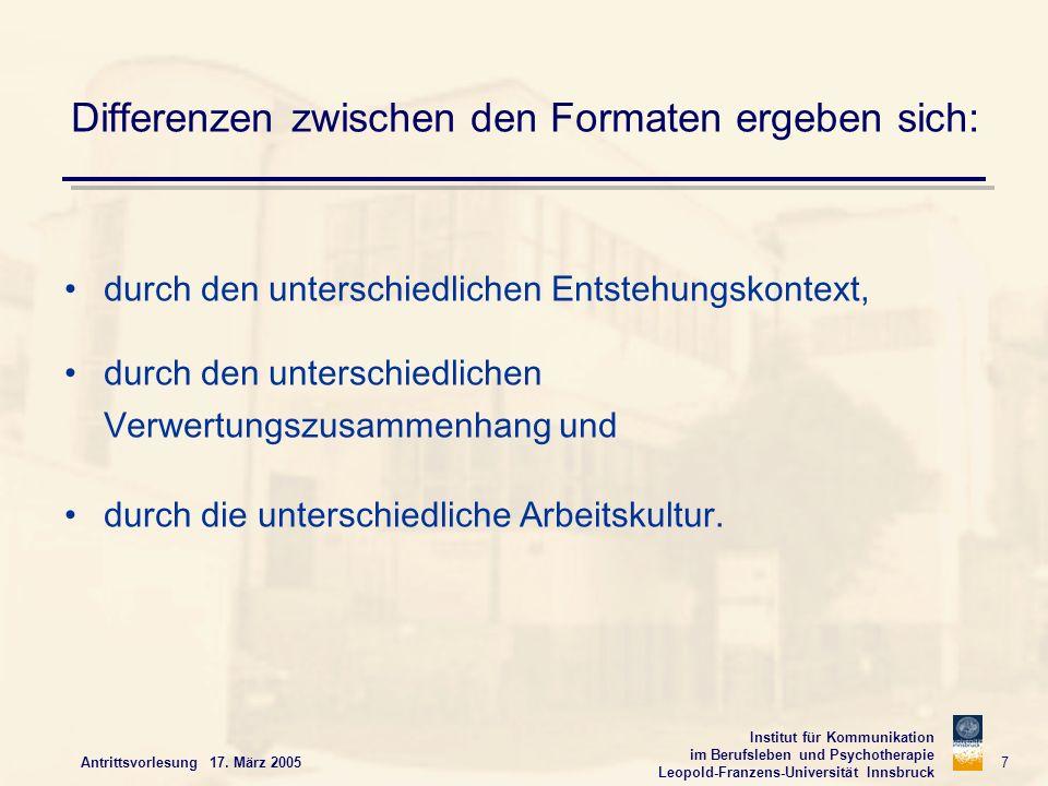 Institut für Kommunikation im Berufsleben und Psychotherapie Leopold-Franzens-Universität Innsbruck Antrittsvorlesung 17. März 2005 7 Differenzen zwis