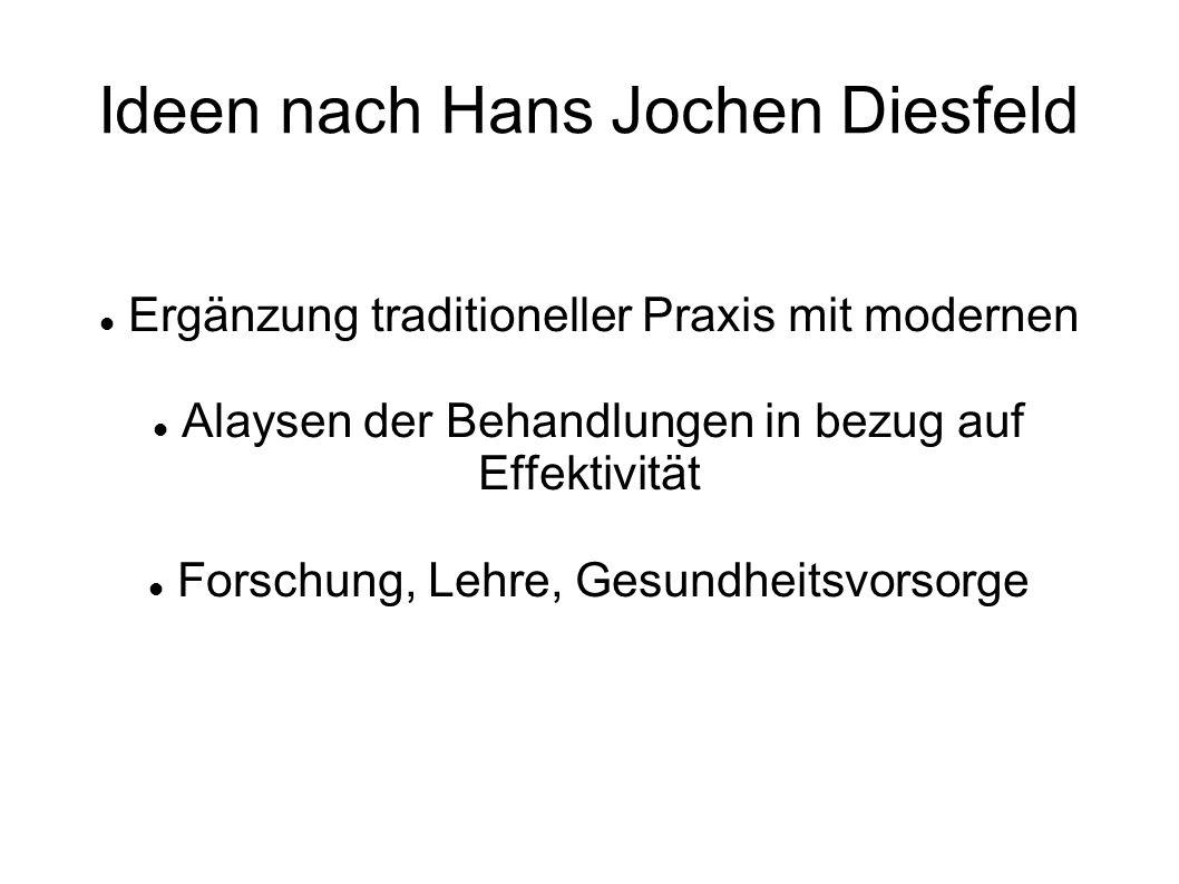 Ideen nach Hans Jochen Diesfeld Ergänzung traditioneller Praxis mit modernen Alaysen der Behandlungen in bezug auf Effektivität Forschung, Lehre, Gesundheitsvorsorge