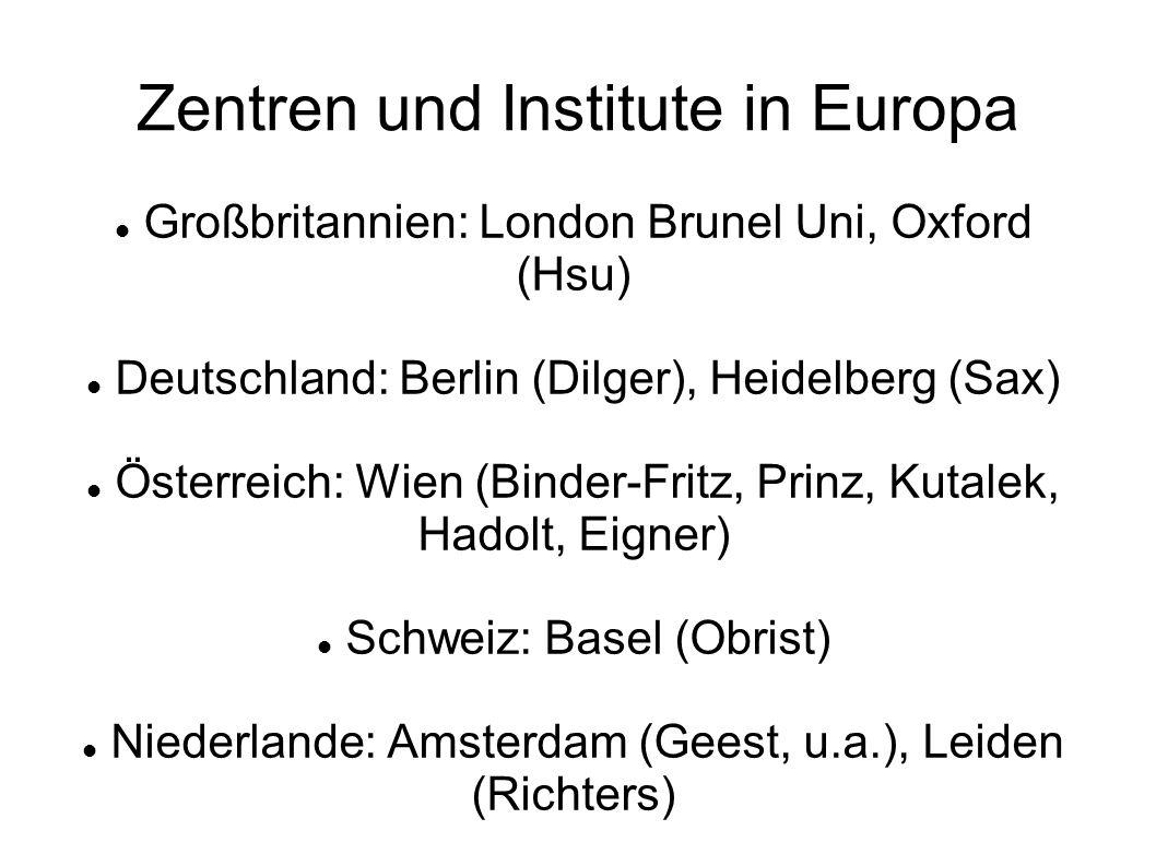 Zentren und Institute in Europa Großbritannien: London Brunel Uni, Oxford (Hsu) Deutschland: Berlin (Dilger), Heidelberg (Sax) Österreich: Wien (Binder-Fritz, Prinz, Kutalek, Hadolt, Eigner) Schweiz: Basel (Obrist) Niederlande: Amsterdam (Geest, u.a.), Leiden (Richters)