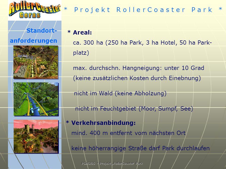 * P r o j e k t R o l l e r C o a s t e r P a r k * PSAGI05 – Projekt RollerCoaster Park Standort- anforderungen * Areal: ca.