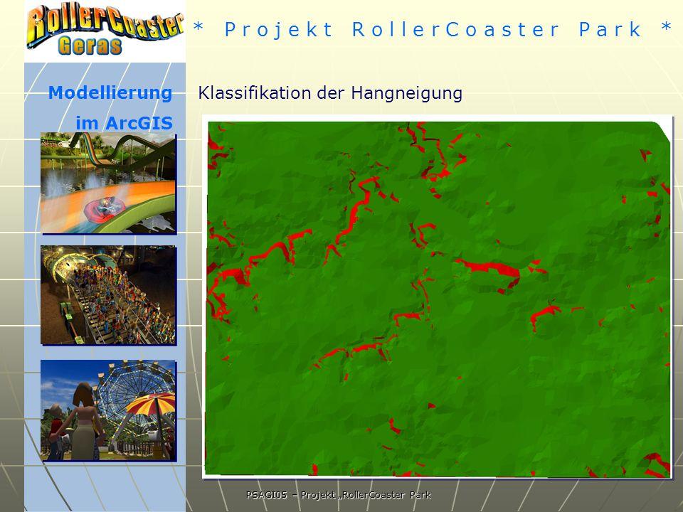 * P r o j e k t R o l l e r C o a s t e r P a r k * PSAGI05 – Projekt RollerCoaster Park Modellierung im ArcGIS Klassifikation der Hangneigung