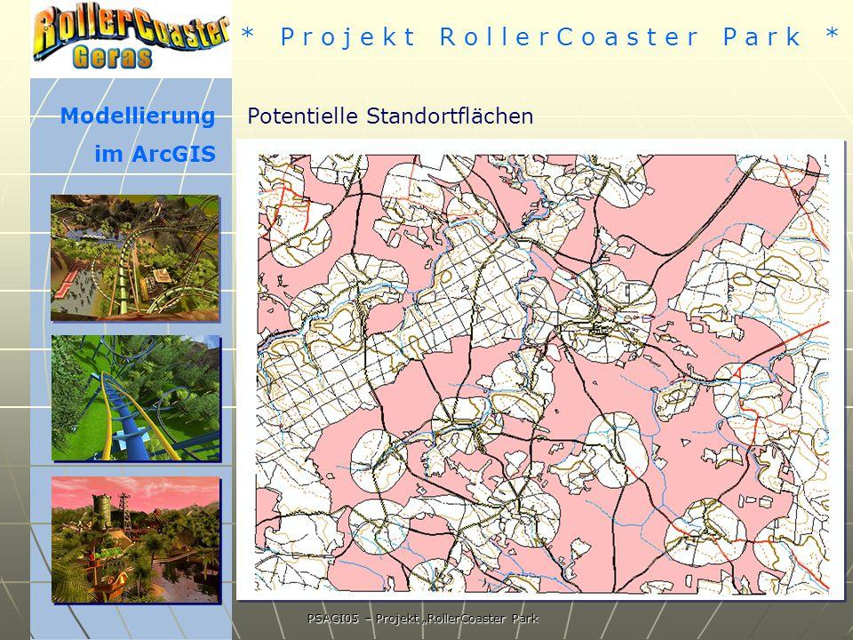* P r o j e k t R o l l e r C o a s t e r P a r k * PSAGI05 – Projekt RollerCoaster Park Modellierung im ArcGIS Potentielle Standortflächen