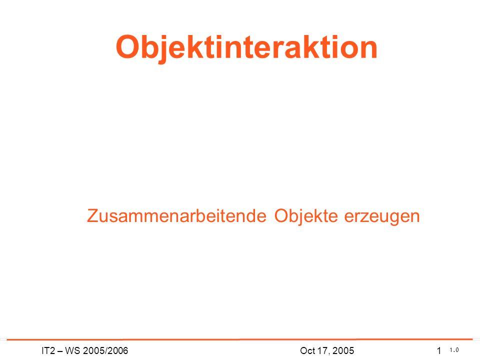 IT2 – WS 2005/20061Oct 17, 2005 Objektinteraktion Zusammenarbeitende Objekte erzeugen 1.0