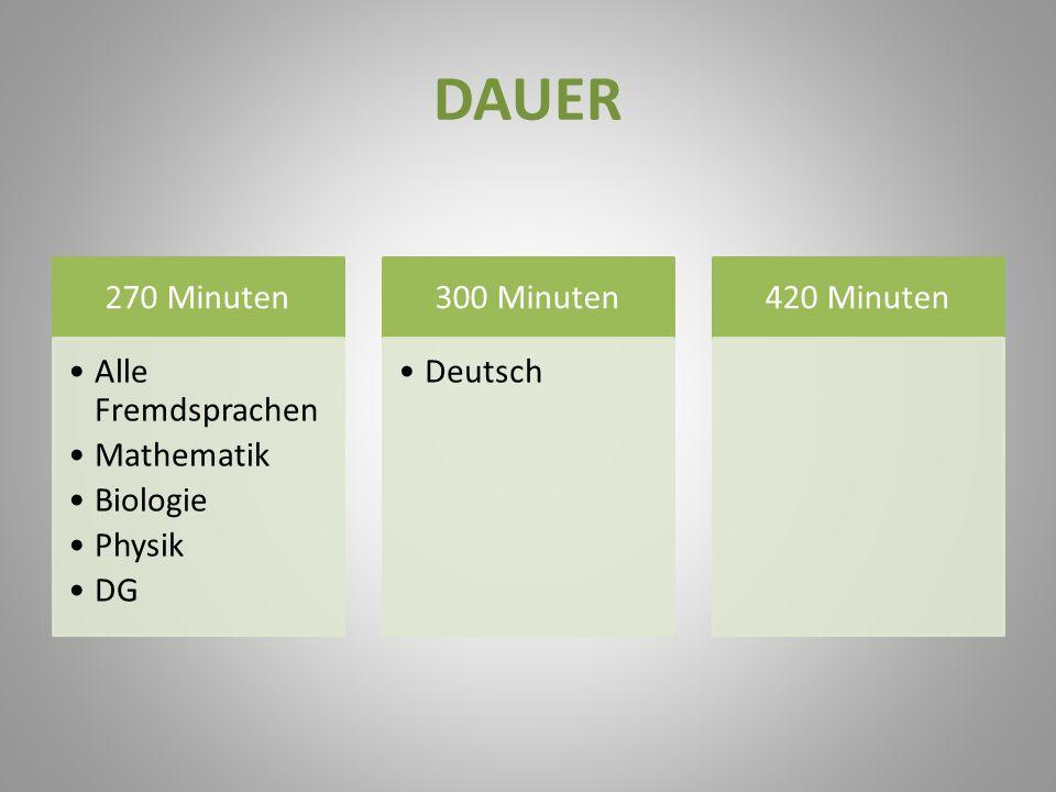 DAUER 270 Minuten Alle Fremdsprachen Mathematik Biologie Physik DG 300 Minuten Deutsch 420 Minuten