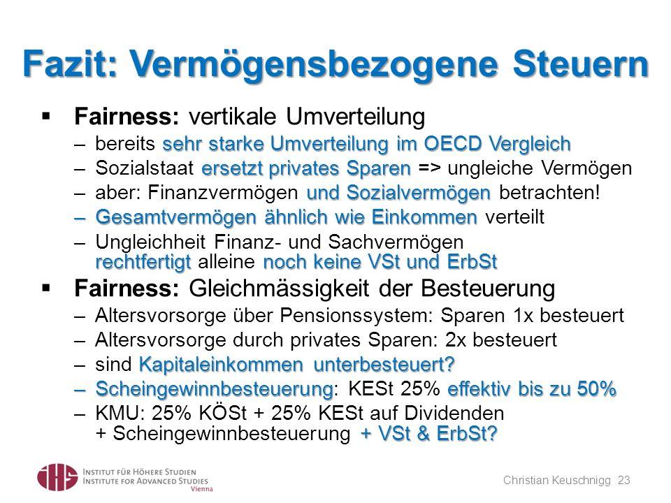 Fazit: Vermögensbezogene Steuern Fairness: vertikale Umverteilung sehr starke Umverteilung im OECD Vergleich –bereits sehr starke Umverteilung im OECD