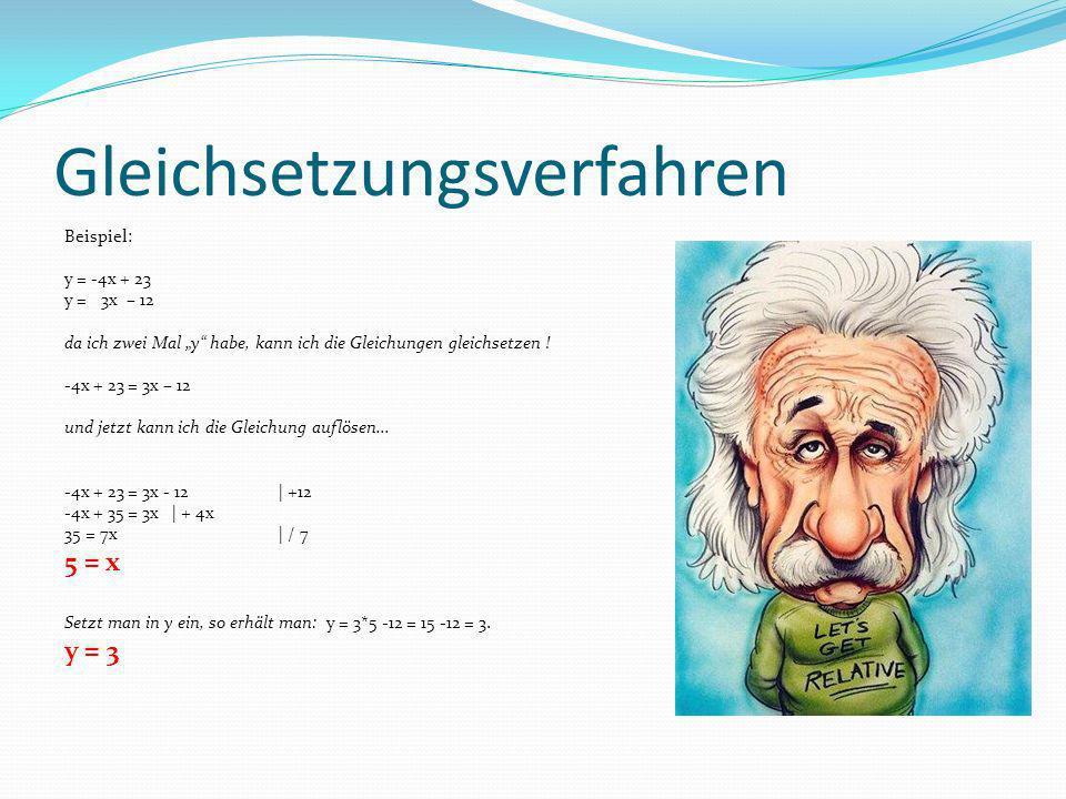 Gleichsetzungsverfahren Beispiel: y = -4x + 23 y = 3x – 12 da ich zwei Mal y habe, kann ich die Gleichungen gleichsetzen ! -4x + 23 = 3x – 12 und jetz