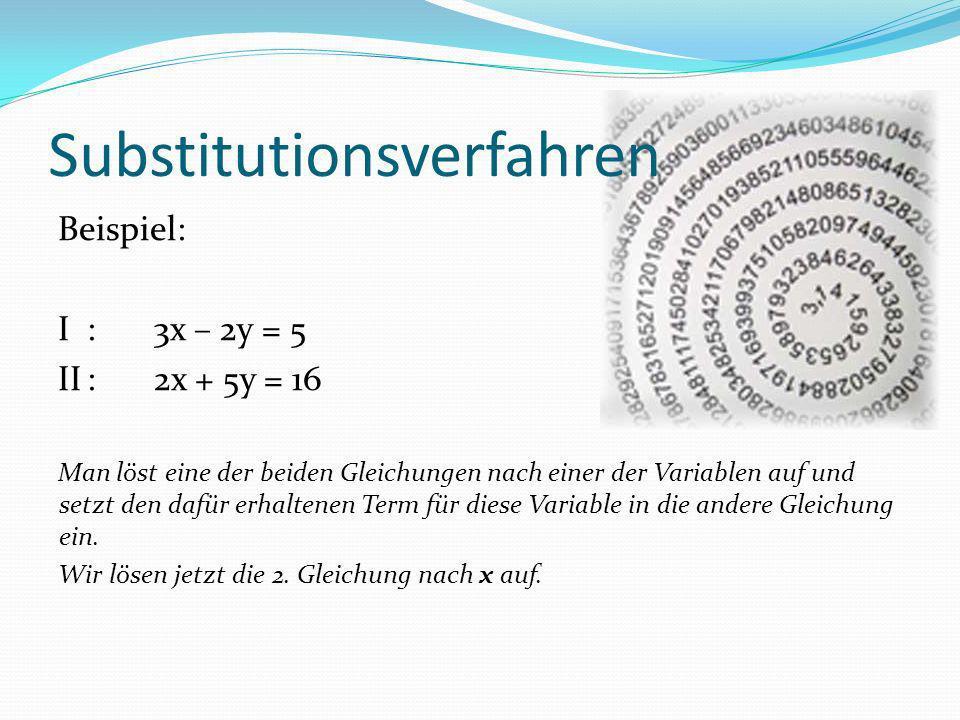 Beispiel: I:3x – 2y = 5 II:2x + 5y = 16 Man löst eine der beiden Gleichungen nach einer der Variablen auf und setzt den dafür erhaltenen Term für dies