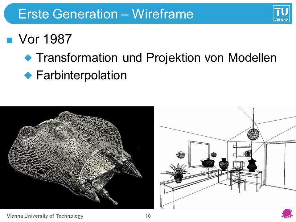 Vienna University of Technology 10 Erste Generation – Wireframe Vor 1987 Transformation und Projektion von Modellen Farbinterpolation