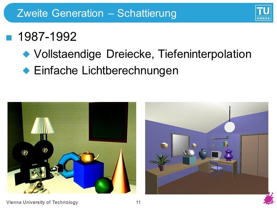 Vienna University of Technology 11 Zweite Generation – Schattierung 1987-1992 Vollstaendige Dreiecke, Tiefeninterpolation Einfache Lichtberechnungen