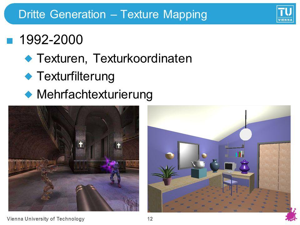 Vienna University of Technology 12 Dritte Generation – Texture Mapping 1992-2000 Texturen, Texturkoordinaten Texturfilterung Mehrfachtexturierung