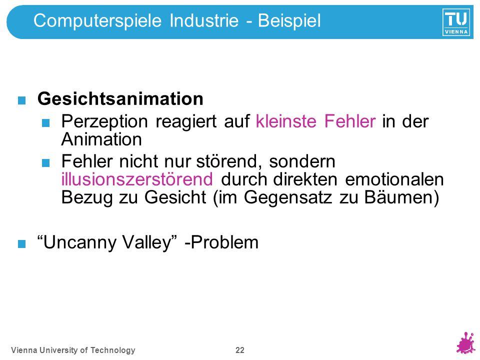 Vienna University of Technology 22 Computerspiele Industrie - Beispiel Gesichtsanimation Perzeption reagiert auf kleinste Fehler in der Animation Fehl