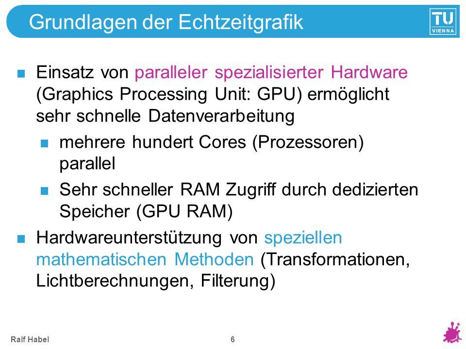 Ralf Habel 6 Grundlagen der Echtzeitgrafik Einsatz von paralleler spezialisierter Hardware (Graphics Processing Unit: GPU) ermöglicht sehr schnelle Da