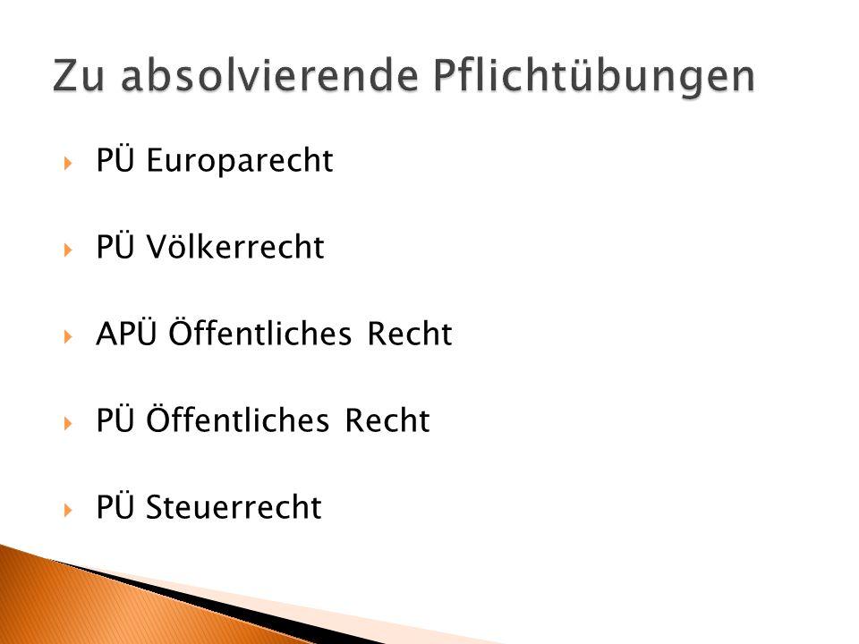 PÜ Europarecht PÜ Völkerrecht APÜ Öffentliches Recht PÜ Öffentliches Recht PÜ Steuerrecht