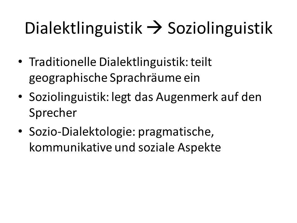 Themen & Probleme der Soziodialektologie Soziale Verteilung der Dialekte Nationale und regionale Standards Dialekte von Ballungsräumen und Betrieben Perzeptionsdialektologie Dialektkontinuum Dialektale Funktionen in der Kommunikation Dialekt als Sprachbarriere