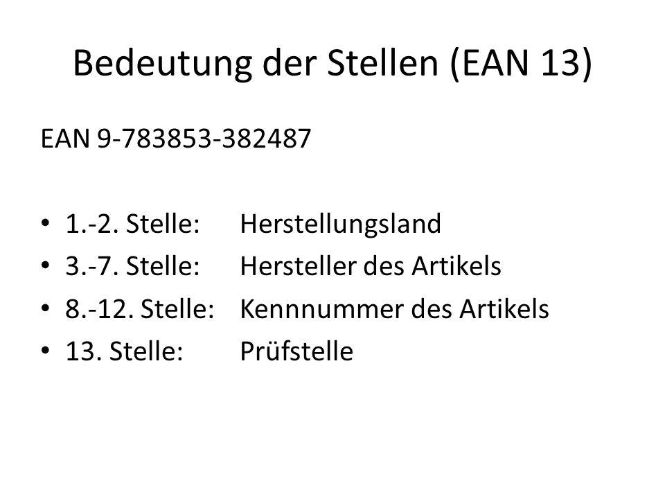 Bedeutung der Stellen (EAN 13) EAN 9-783853-382487 1.-2. Stelle:Herstellungsland 3.-7. Stelle: Hersteller des Artikels 8.-12. Stelle:Kennnummer des Ar