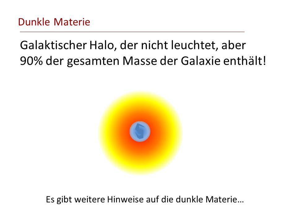 Dunkle Materie Galaktischer Halo, der nicht leuchtet, aber 90% der gesamten Masse der Galaxie enthält! Es gibt weitere Hinweise auf die dunkle Materie