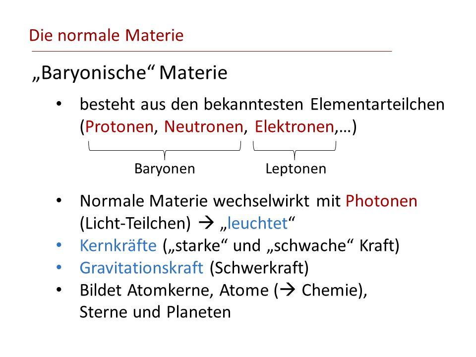 Die normale Materie Baryonische Materie besteht aus den bekanntesten Elementarteilchen (Protonen, Neutronen, Elektronen,…) Normale Materie wechselwirk