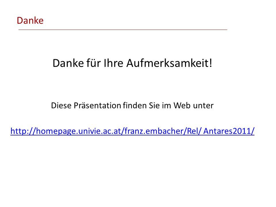 Danke Danke für Ihre Aufmerksamkeit! Diese Präsentation finden Sie im Web unter http://homepage.univie.ac.at/franz.embacher/Rel/ Antares2011/