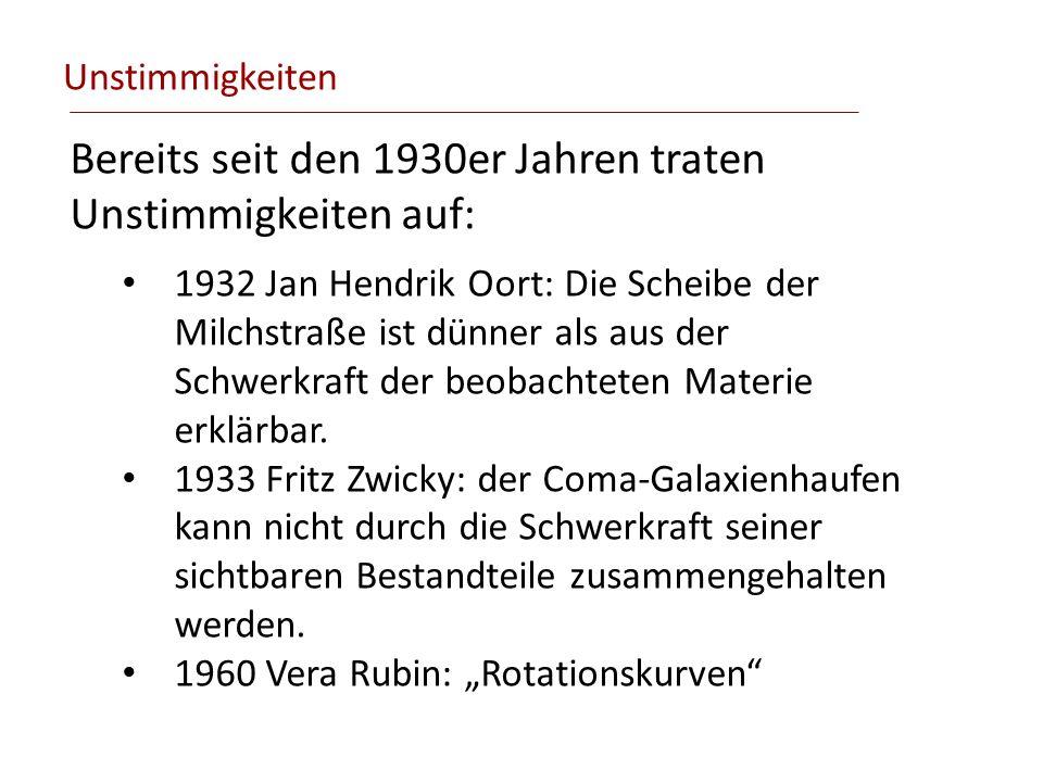 Unstimmigkeiten Bereits seit den 1930er Jahren traten Unstimmigkeiten auf: 1932 Jan Hendrik Oort: Die Scheibe der Milchstraße ist dünner als aus der S