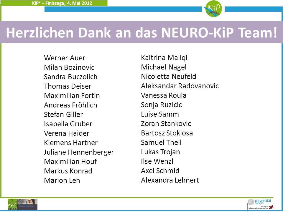 KiP 2 – Finissage, 4.Mai 2012 Herzlichen Dank an das NEURO-KiP Team.