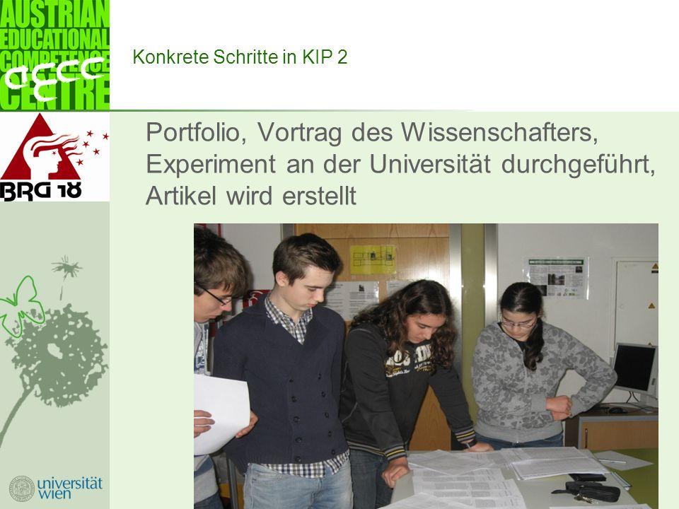 Konkrete Schritte in KIP 2 Portfolio, Vortrag des Wissenschafters, Experiment an der Universität durchgeführt, Artikel wird erstellt