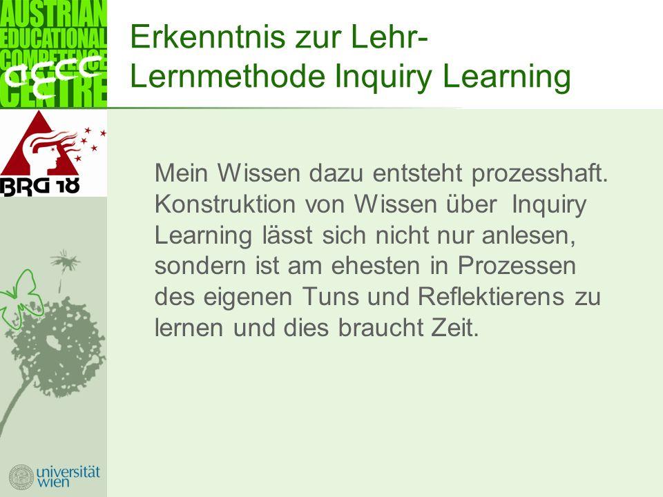 Erkenntnis zur Lehr- Lernmethode Inquiry Learning Mein Wissen dazu entsteht prozesshaft.