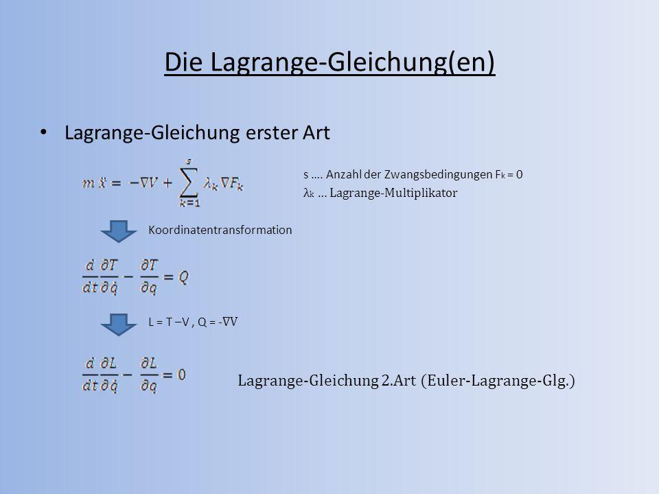 Die Lagrange-Gleichung(en) Lagrange-Gleichung erster Art s …. Anzahl der Zwangsbedingungen F k = 0 λ k … Lagrange-Multiplikator Koordinatentransformat