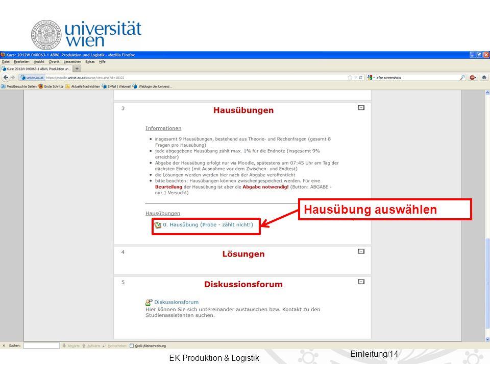 EK Produktion & Logistik Einleitung/14 Hausübung auswählen