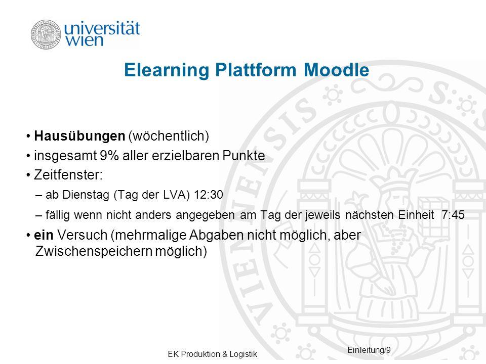 EK Produktion & Logistik Einleitung/9 Elearning Plattform Moodle Hausübungen (wöchentlich) insgesamt 9% aller erzielbaren Punkte Zeitfenster: – ab Die
