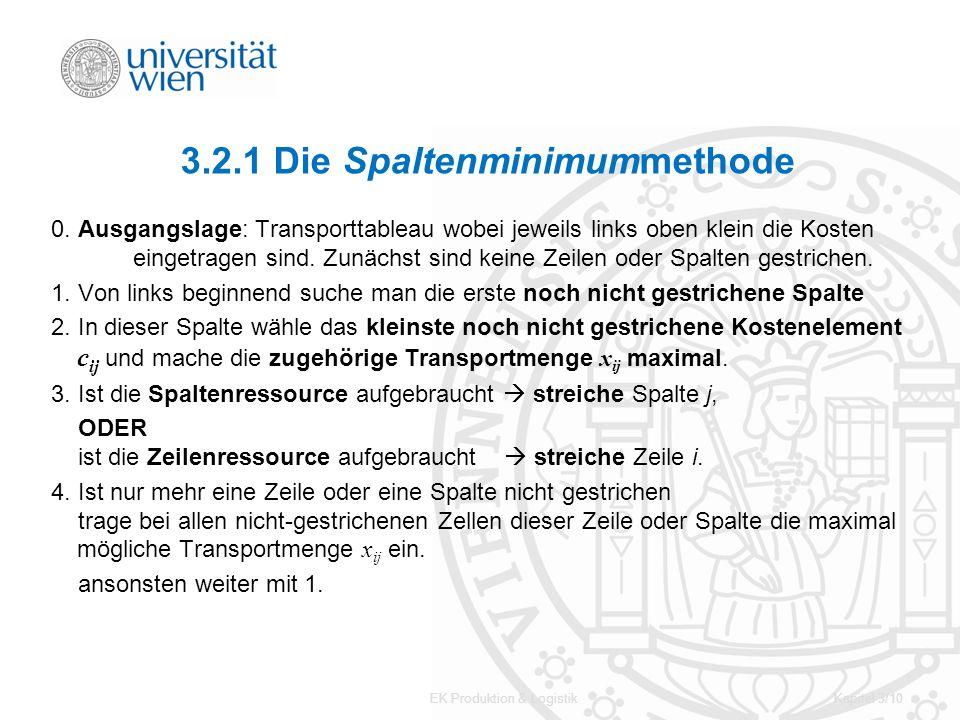 EK Produktion & LogistikKapitel 3/10 3.2.1 Die Spaltenminimummethode 0. Ausgangslage: Transporttableau wobei jeweils links oben klein die Kosten einge