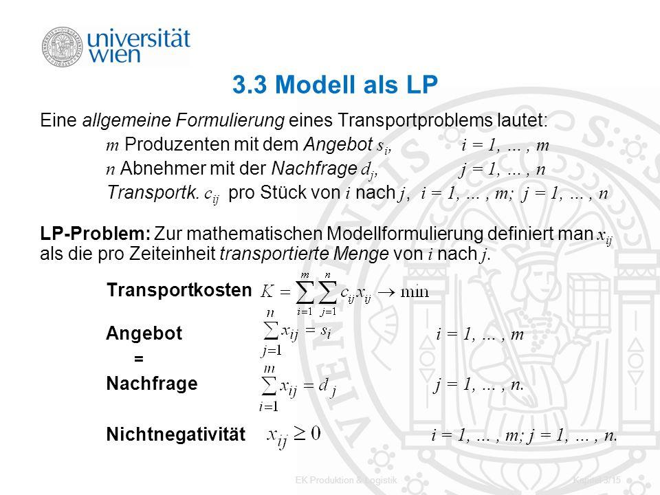 EK Produktion & LogistikKapitel 3/15 3.3 Modell als LP Eine allgemeine Formulierung eines Transportproblems lautet: m Produzenten mit dem Angebot s i,