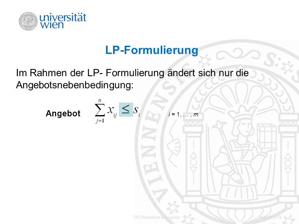 EK Produktion & LogistikKapitel 3/19 LP-Formulierung Im Rahmen der LP- Formulierung ändert sich nur die Angebotsnebenbedingung: Angebot i = 1, …, m