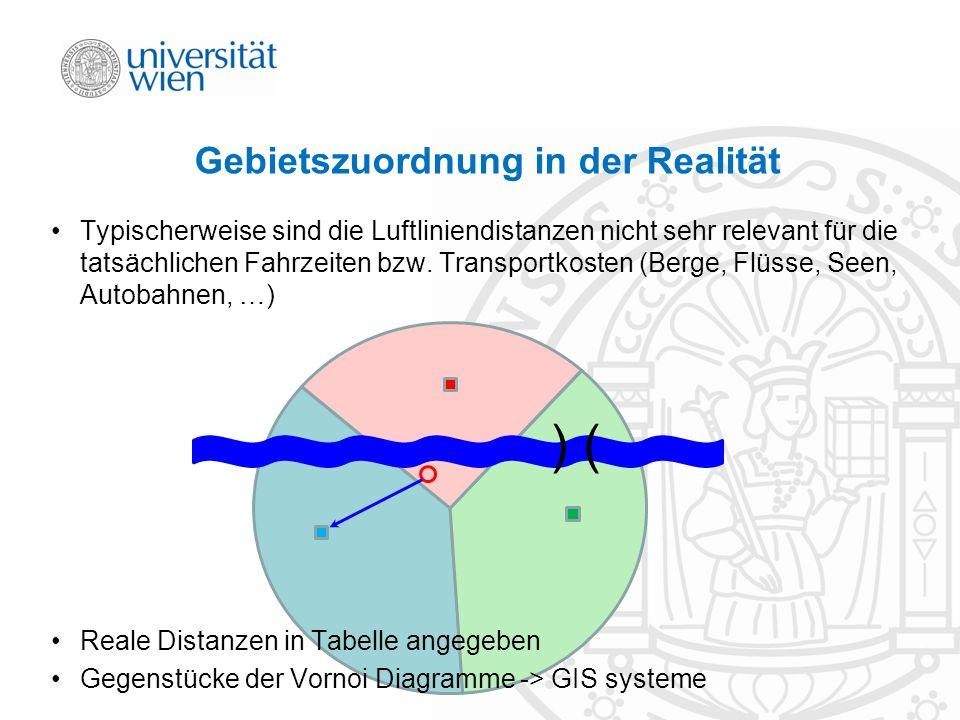 Gebietszuordnung in der Realität ) ( Typischerweise sind die Luftliniendistanzen nicht sehr relevant für die tatsächlichen Fahrzeiten bzw. Transportko