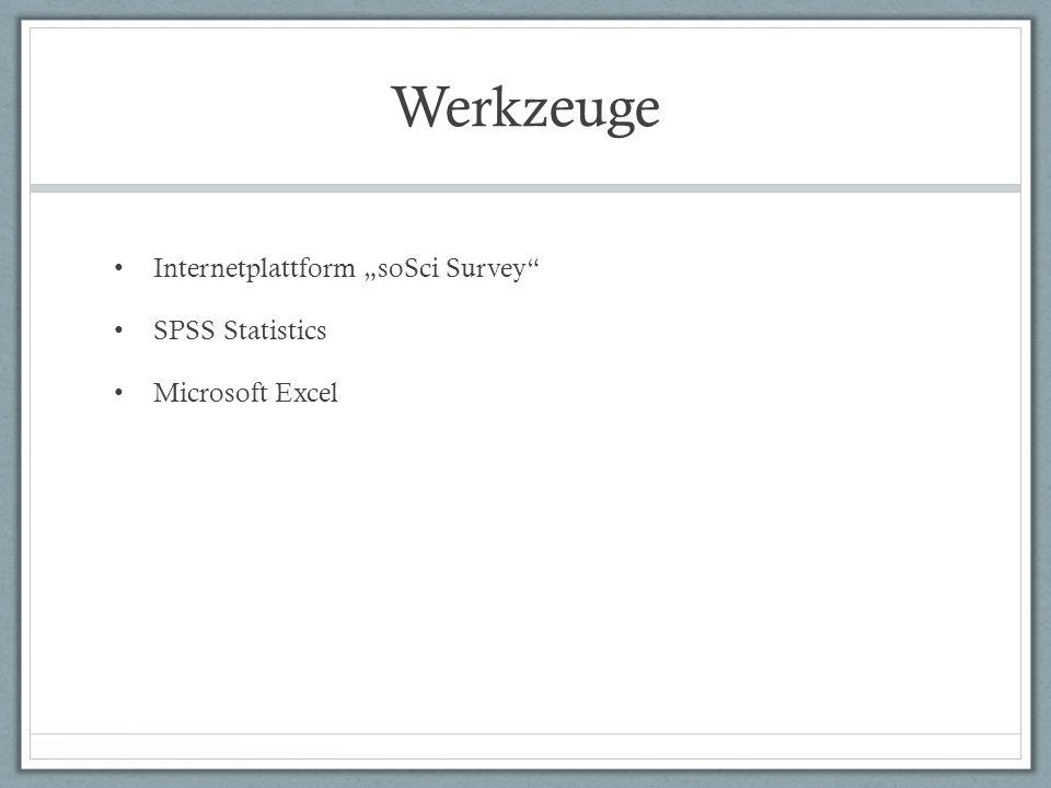 Werkzeuge Internetplattform soSci Survey SPSS Statistics Microsoft Excel