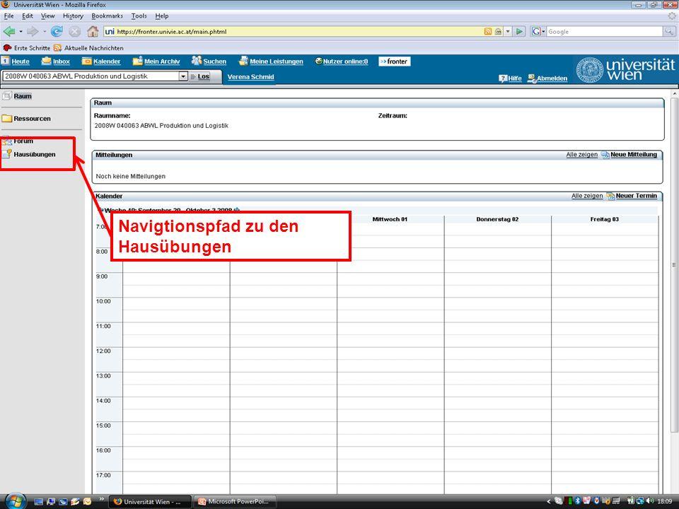 EK Produktion & Logistik Einleitung/15 EK Produktion & LogistikEinleitung/15 Navigtionspfad zu den Hausübungen