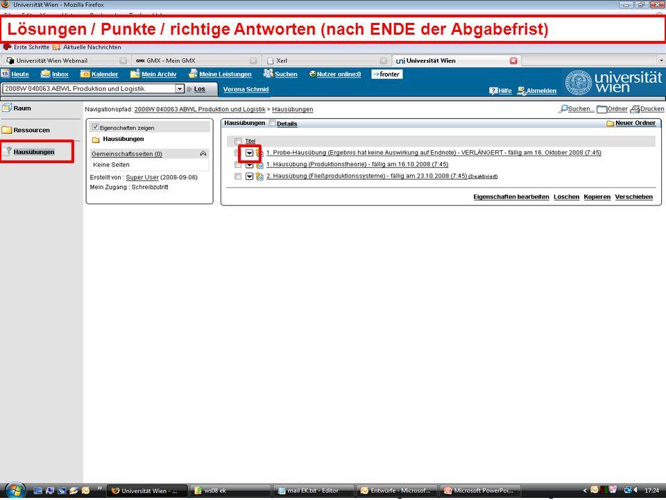 EK Produktion & Logistik Einleitung/19 EK Produktion & LogistikEinleitung/19 Lösungen / Punkte / richtige Antworten (nach ENDE der Abgabefrist)