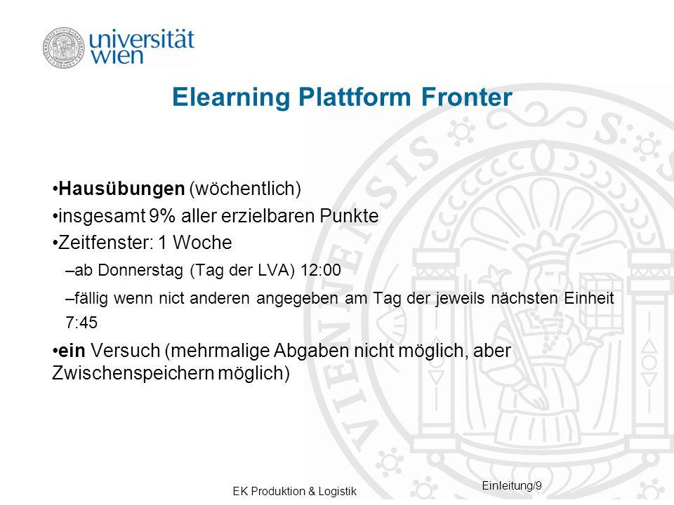 EK Produktion & Logistik Einleitung/9 Elearning Plattform Fronter Hausübungen (wöchentlich) insgesamt 9% aller erzielbaren Punkte Zeitfenster: 1 Woche