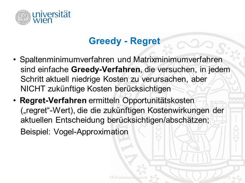 EK Produktion & LogistikKapitel 3/13 Greedy - Regret Spaltenminimumverfahren und Matrixminimumverfahren sind einfache Greedy-Verfahren, die versuchen,