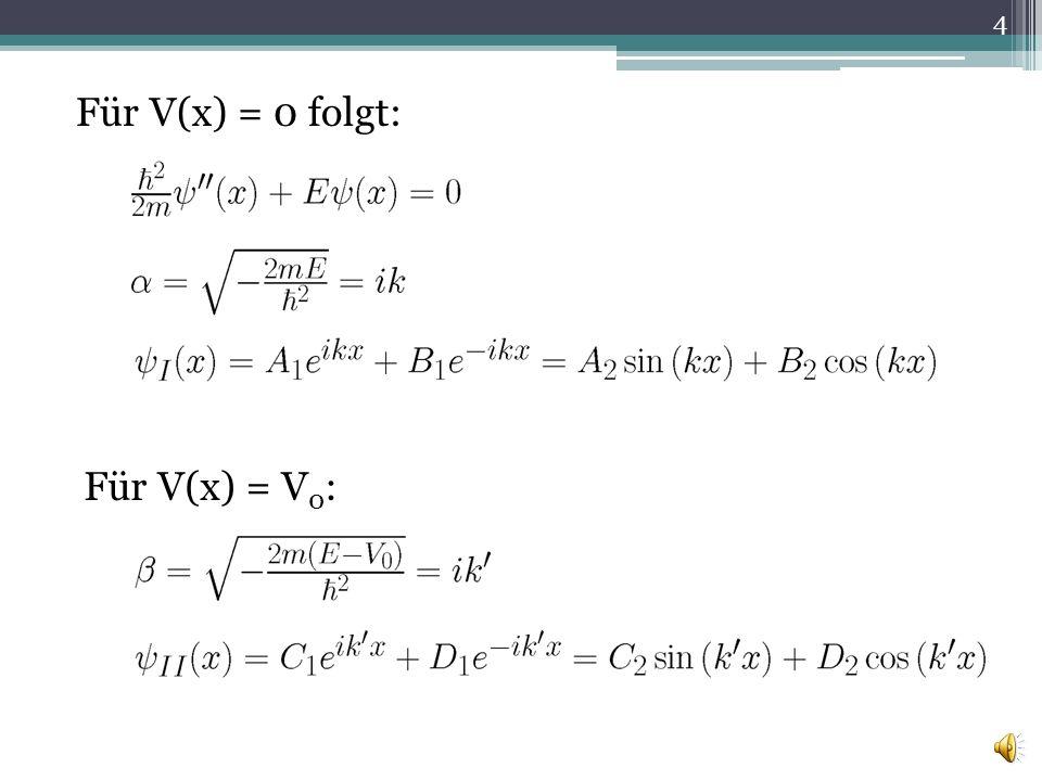 Für V(x) = 0 folgt: Für V(x) = V 0 : 4