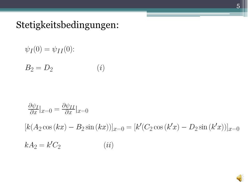Periodizitätsbedingungen: Blochsches Theorem: In einem gitterperiodischen Potential gilt: woraus folgt: 6