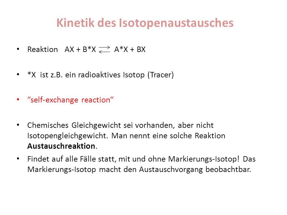 Kinetik des Isotopenaustausches Reaktion AX + B*X A*X + BX *X ist z.B. ein radioaktives Isotop (Tracer) self-exchange reaction Chemisches Gleichgewich