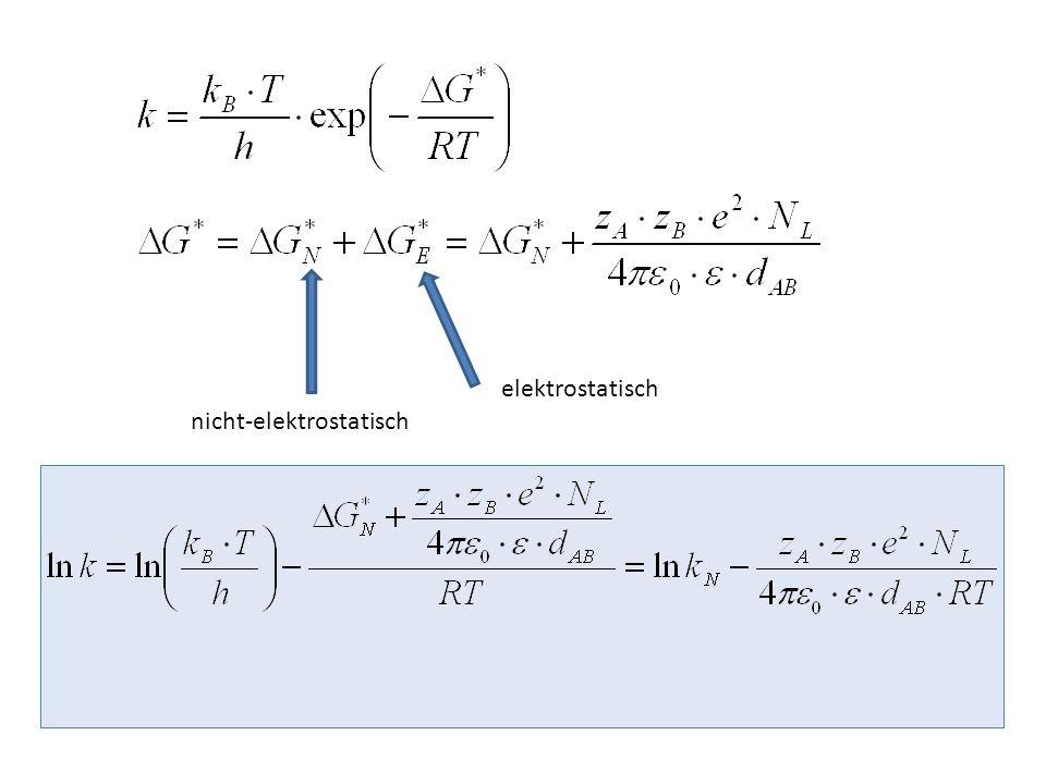 ln k ist eine lineare Funktion von 1/ε Erst bei kleinen Werten von ε tritt Abweichung von der Geraden auf (durch Ionenassoziation)