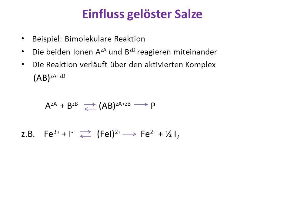 Einfluss gelöster Salze Beispiel: Bimolekulare Reaktion Die beiden Ionen A zA und B zB reagieren miteinander Die Reaktion verläuft über den aktivierte
