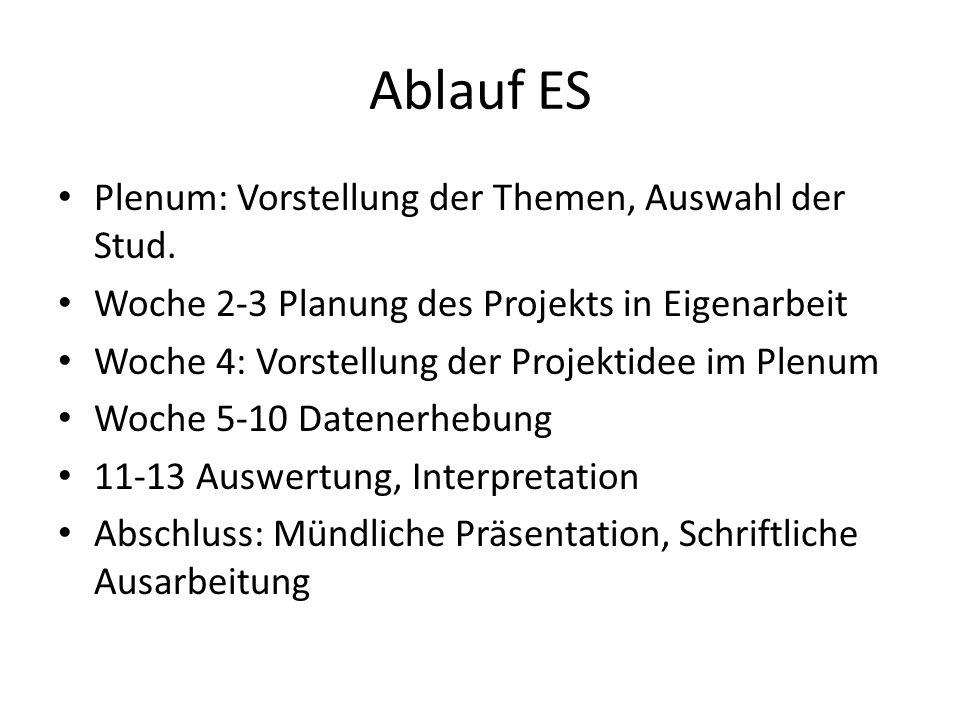 Ablauf ES Plenum: Vorstellung der Themen, Auswahl der Stud.
